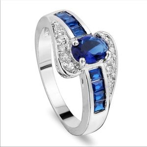 Blue Sapphire 925 sterling silver size 8 ring